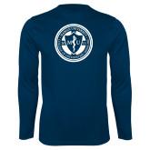 Performance Navy Longsleeve Shirt-Marian COM Seal