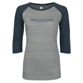 ENZA Ladies Athletic Heather/Navy Vintage Baseball Tee-Primary Mark Dark Blue Glitter