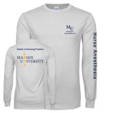 White Long Sleeve T Shirt-Primary Mark Stacked