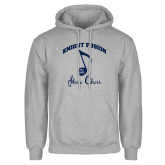 Grey Fleece Hoodie-Knight Fusion Arched over Music Note