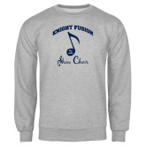 Grey Fleece Crew-Knight Fusion Arched over Music Note