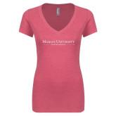 Next Level Ladies Vintage Pink Tri Blend V Neck Tee-Primary Mark White Soft Glitter