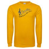 Gold Long Sleeve T Shirt-Knight Fusion Show Choir Music Bar
