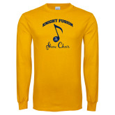 Gold Long Sleeve T Shirt-Knight Fusion Arched over Music Note