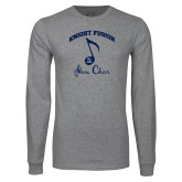 Grey Long Sleeve T Shirt-Knight Fusion Arched over Music Note