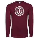 Maroon Long Sleeve T Shirt-Marian COM Seal