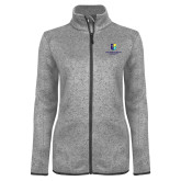 Grey Heather Ladies Fleece Jacket-SJI Stacked