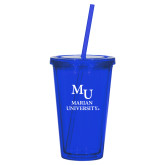 Madison Double Wall Blue Tumbler w/Straw 16oz-Primary Mark Stacked