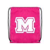 Nylon Pink Drawstring Backpack-Primary Logo