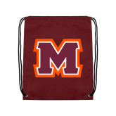 Maroon Drawstring Backpack-Primary Logo