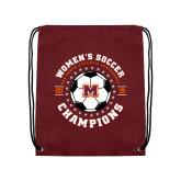 Maroon Drawstring Backpack-2019 Womens Soccer USA SAC Champions