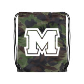 Nylon Camo Drawstring Backpack-Primary Logo