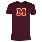 Ladies Maroon T Shirt-Primary Logo