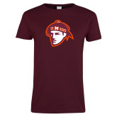 Ladies Maroon T Shirt-Scot Head