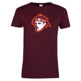 Ladies Maroon T Shirt-Scot Head