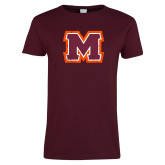 Ladies Maroon T Shirt-Primary Logo Distressed