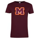 Ladies Maroon T Shirt-Primary Logo Distressed