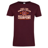 Ladies Maroon T Shirt-2019 Womens Soccer Champions