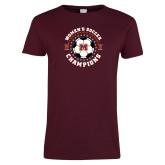 Ladies Maroon T Shirt-2019 Womens Soccer USA SAC Champions