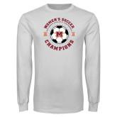White Long Sleeve T Shirt-2019 Womens Soccer USA SAC Champions