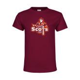 Youth Maroon T Shirt-Secondary Logo
