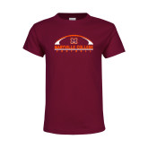 Youth Maroon T Shirt-Football Arched