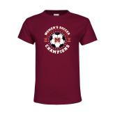 Youth Maroon T Shirt-2019 Womens Soccer USA SAC Champions