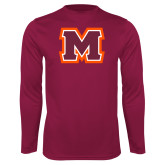 Performance Maroon Longsleeve Shirt-Primary Logo