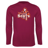 Performance Maroon Longsleeve Shirt-Secondary Logo
