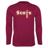 Performance Maroon Longsleeve Shirt-Tertiary Mark