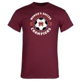 Maroon T Shirt-2019 Womens Soccer USA SAC Champions