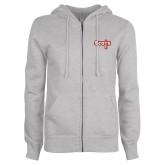 ENZA Ladies Grey Fleece Full Zip Hoodie-Tertiary Mark