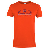 Ladies Orange T Shirt-Football Arched