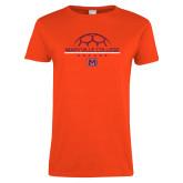 Ladies Orange T Shirt-Soccer Ball on Top