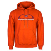Orange Fleece Hoodie-Football Arched