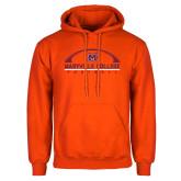 Orange Fleece Hoodie-Football Arched
