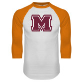 White/Orange Raglan Baseball T Shirt-Primary Logo