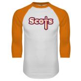 White/Orange Raglan Baseball T Shirt-Tertiary Mark