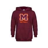 Youth Maroon Fleece Hoodie-Softball
