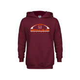 Youth Maroon Fleece Hoodie-Football Arched
