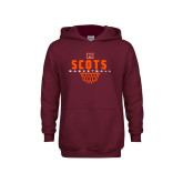 Youth Maroon Fleece Hoodie-Basketball Net