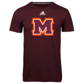 Adidas Climalite Maroon Ultimate Performance Tee-Primary Logo