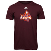 Adidas Climalite Maroon Ultimate Performance Tee-Secondary Logo