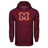 Under Armour Maroon Performance Sweats Team Hoodie-Primary Logo