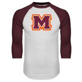 White/Maroon Raglan Baseball T Shirt-Primary Logo