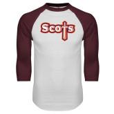 White/Maroon Raglan Baseball T Shirt-Tertiary Mark