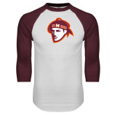 White/Maroon Raglan Baseball T Shirt-Scot Head