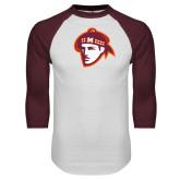 White/Maroon Raglan Baseball T Shirt-Scot Head