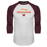 White/Maroon Raglan Baseball T Shirt-Baseball Laces on Top