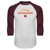 White/Maroon Raglan Baseball T Shirt-Baseball Laces on Top